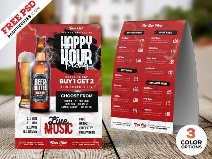 Free Happy Hour Tent Card Menu Psd Template Happy Hour Menu Tent Cards Happy Hour Beer
