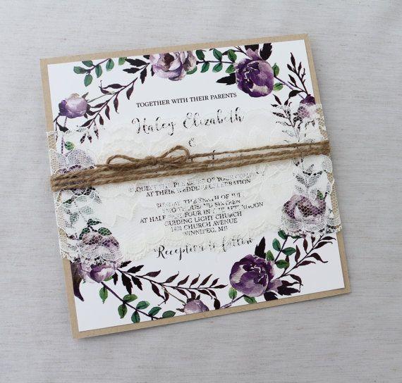 Rustic Boho Floral Wedding Invitation Lace Wedding Invitation