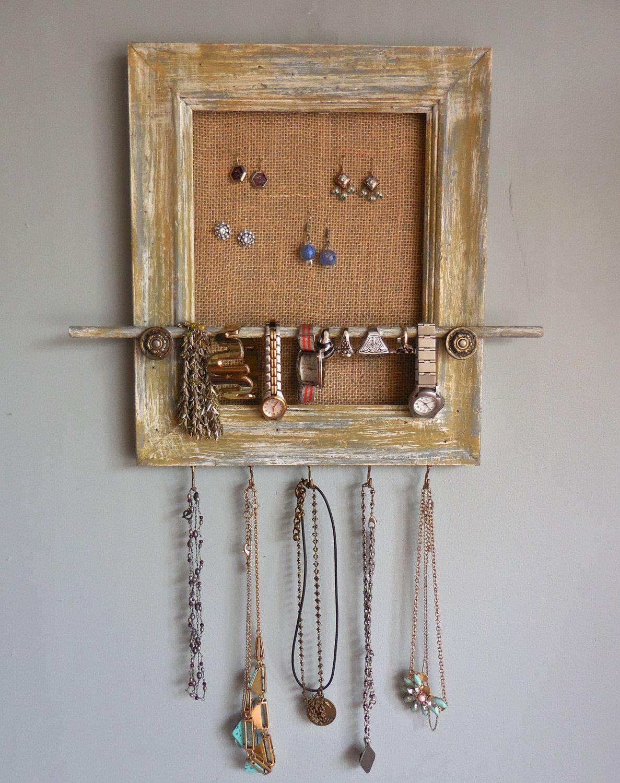 Upcycled Repurposed Frame Jewelry OrganizerWoodWhite Yellow Grey