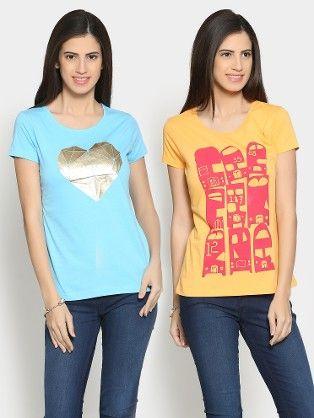 4115df9ff Style Quotient Women Blue   Orange Pack of 2 Regular Fit T-shirts ...