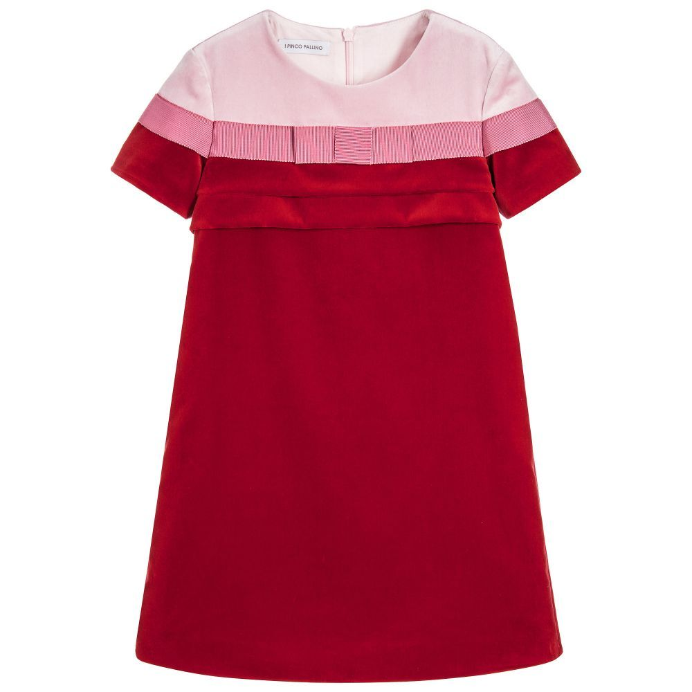 Girls pink u red velvet dress kids online