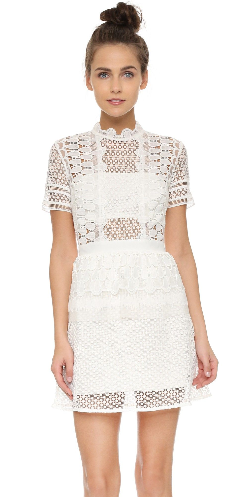 Self Portrait Sculpted Teardrop Dress Cocktail Dress Lace Mini Dress Off White Lace Dress [ 2000 x 1016 Pixel ]