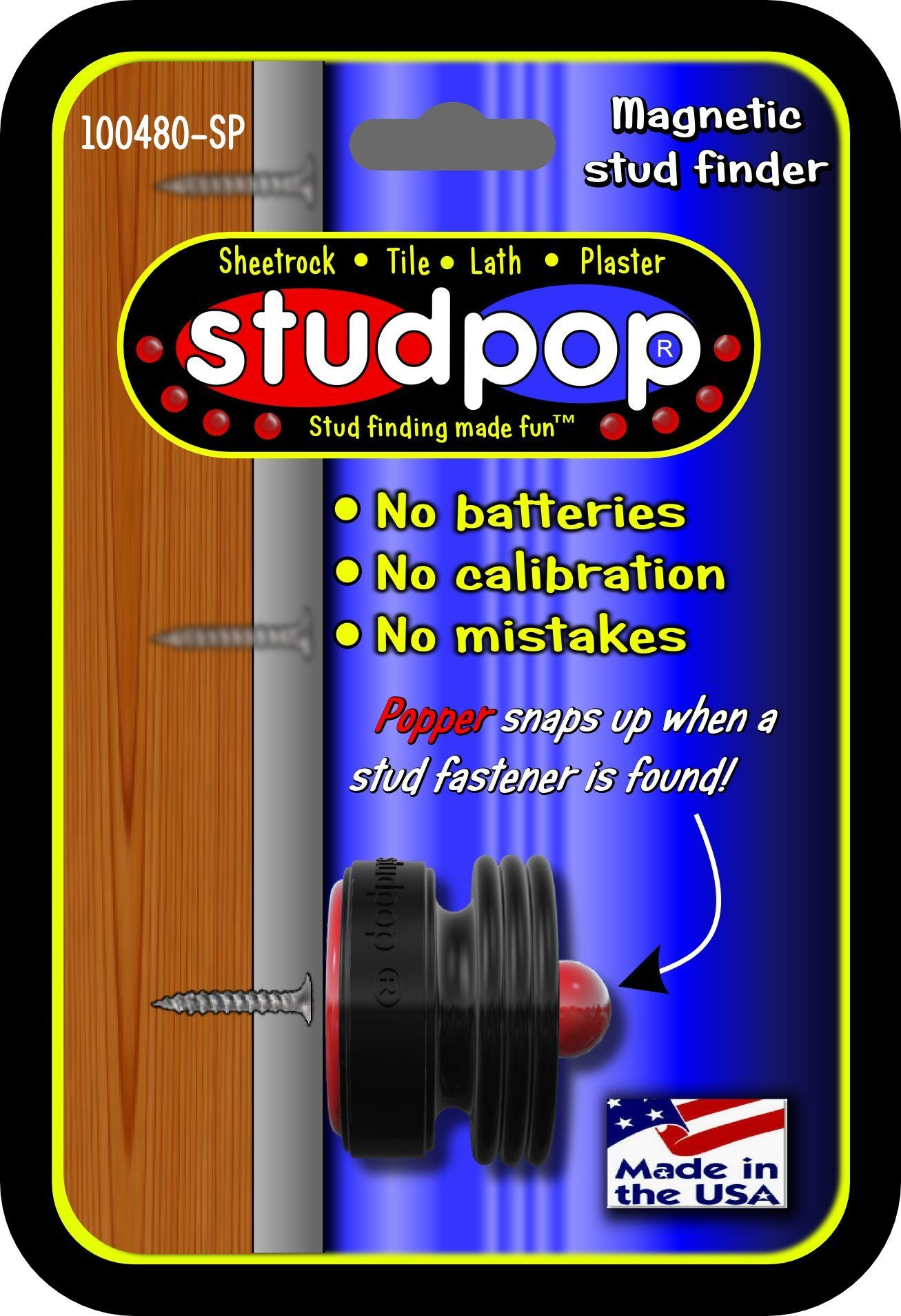 Studpop Magnetic Stud Finder Unique Popper Indicates When It Finds The Metal Fasteners In Studs Invented By A Contractor Work Stud Finder Stud Finders Stud