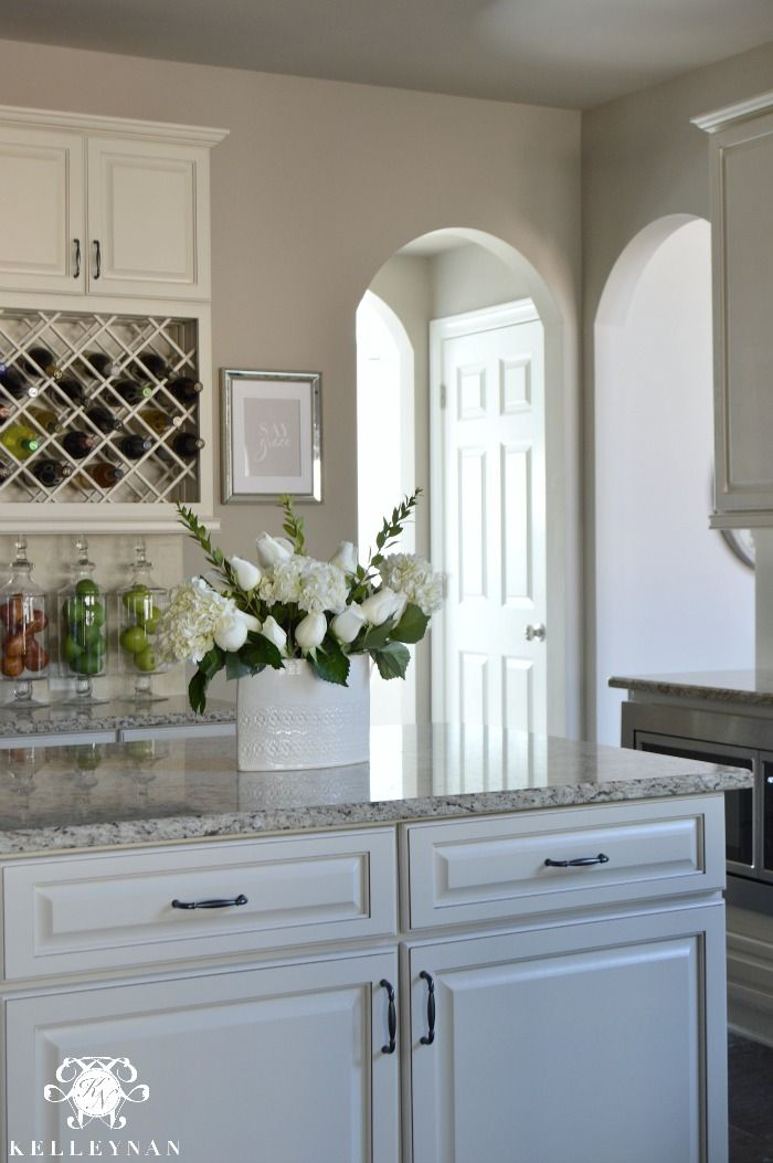 Perfect greige sherwin williams home pinterest for Kitchen colours with white cabinets