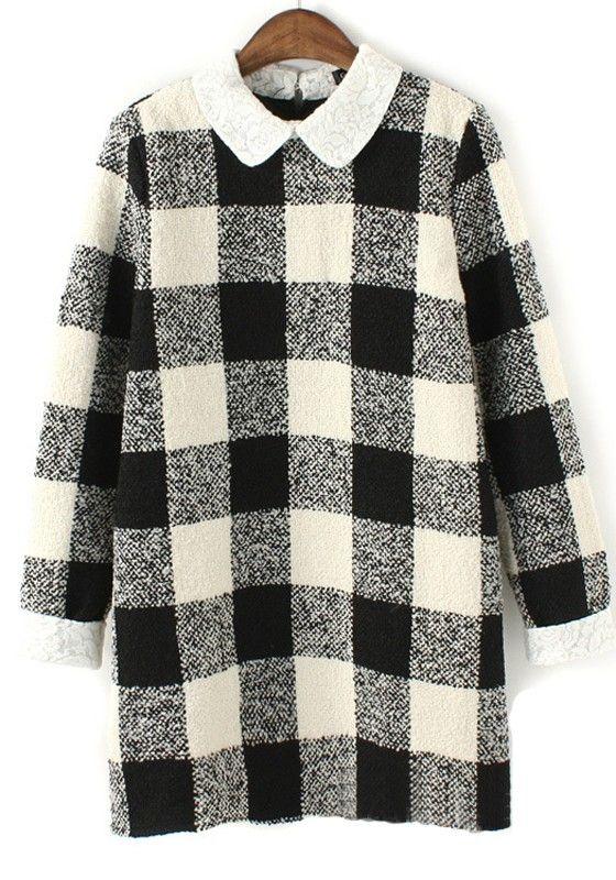 ++ white plaid wool dress