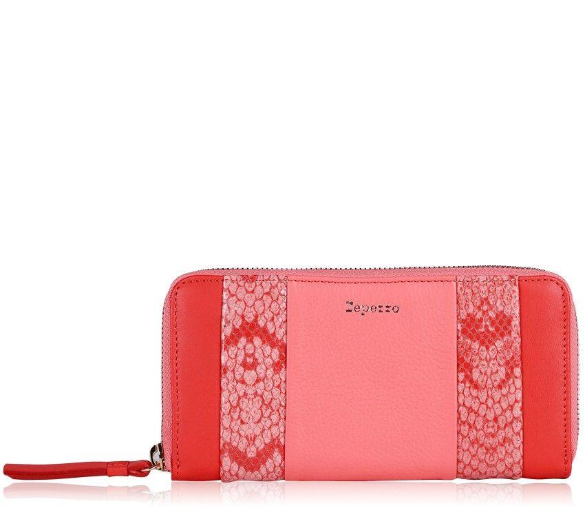 Portefeuille Lida Rouge kiss et Rose flamingo Vachette buffalo, croûte de cuir effet python et vachette silk