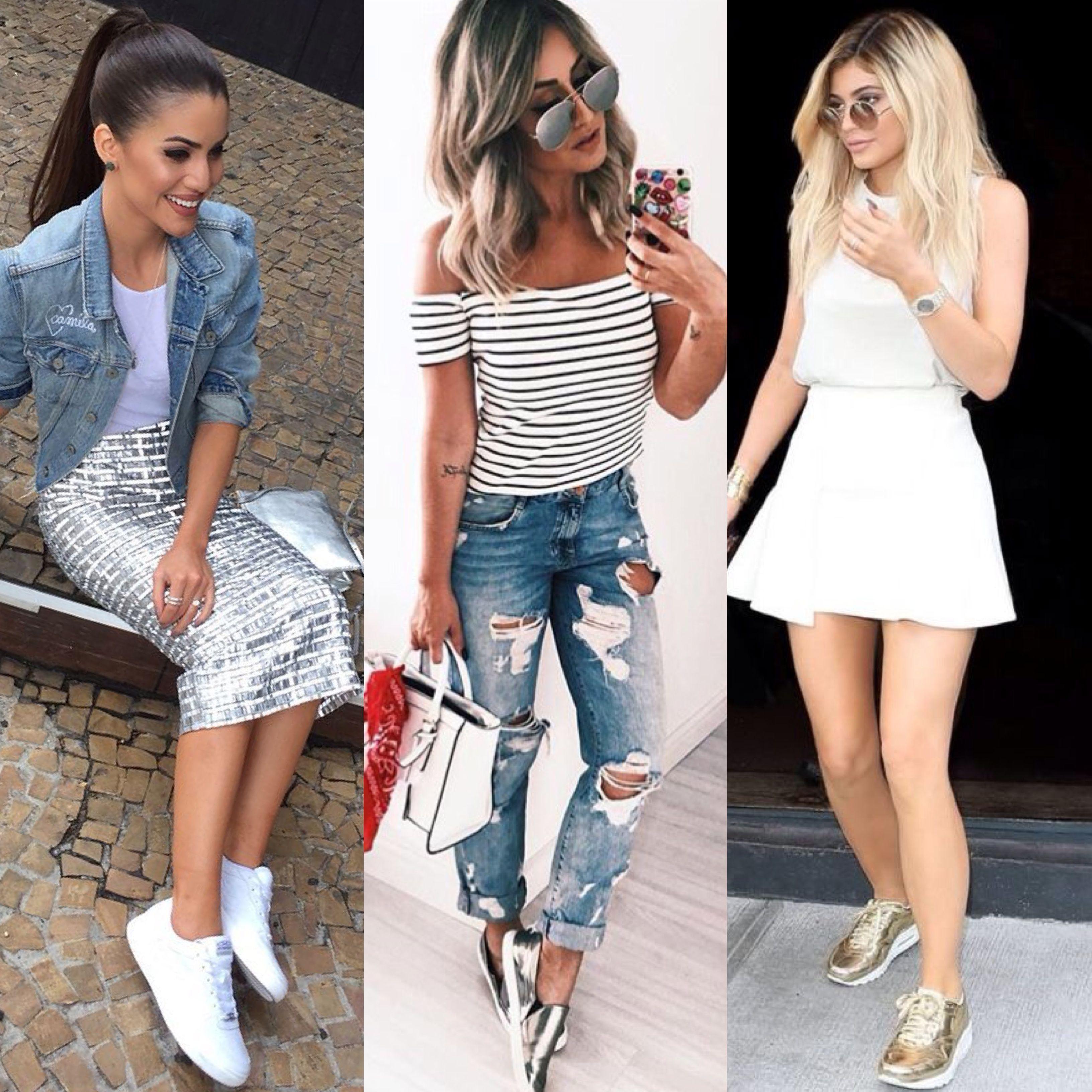 d79abf17424 tendência metalizado saia lápis tênis slip on sneakers skirt look moda  fashion gold silver dourado prata mettalized