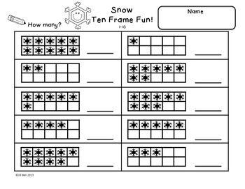 ten frames snow classroom math ten frames kindergarten math preschool math. Black Bedroom Furniture Sets. Home Design Ideas