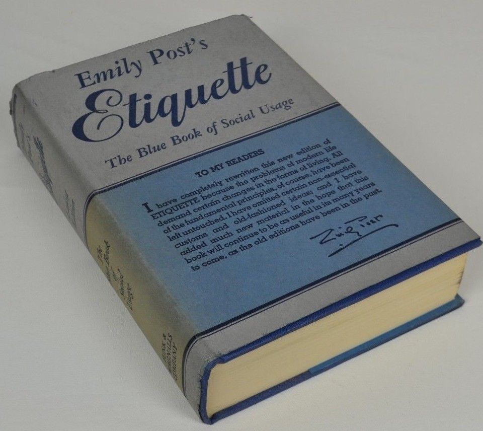 Vtg Etiquette Emily Post 1945 Blue Book of Social Usage Very Fine ...