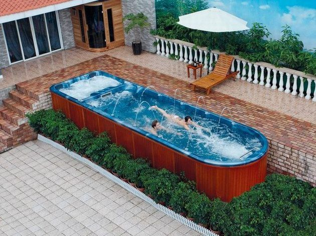 Above Ground Pool And Spa Combo Google Search Garden Swimming