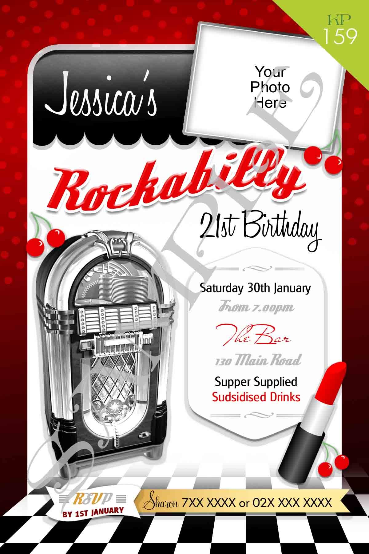 Rockabilly invitation designed with your information and
