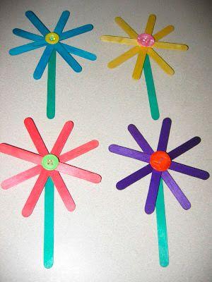 Manualidad Infantil De Flores Hechas Con Palitos De Helado Palitos - Manualidades-hechas-por-nios