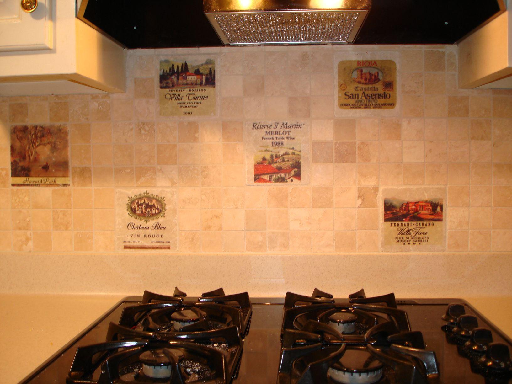 wine labels on marble tiles backsplash