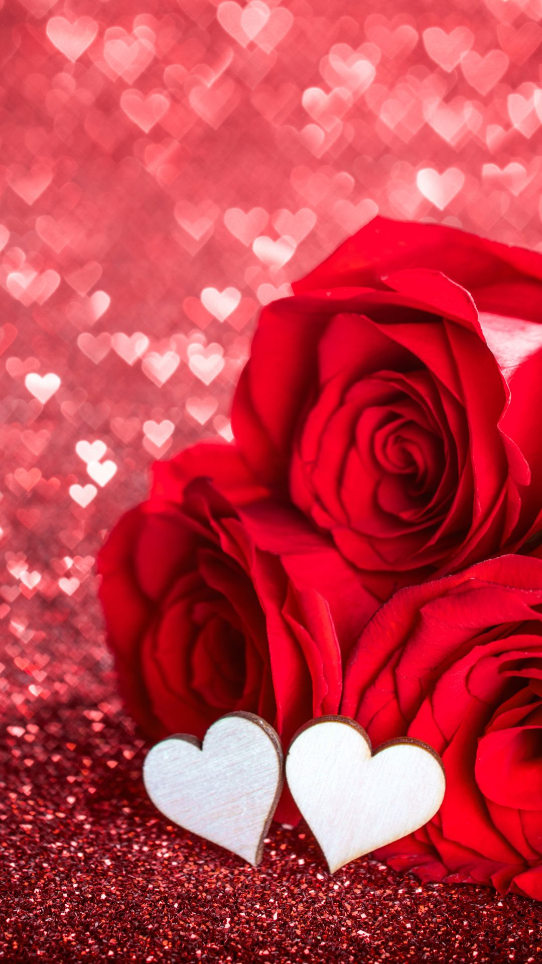 Holiday Valentine S Day Bokeh Flower Heart Shaped Love Red Flower Red Rose Romantic Rose 1080 Rose Flower Wallpaper Red Roses Wallpaper Flower Phone Wallpaper