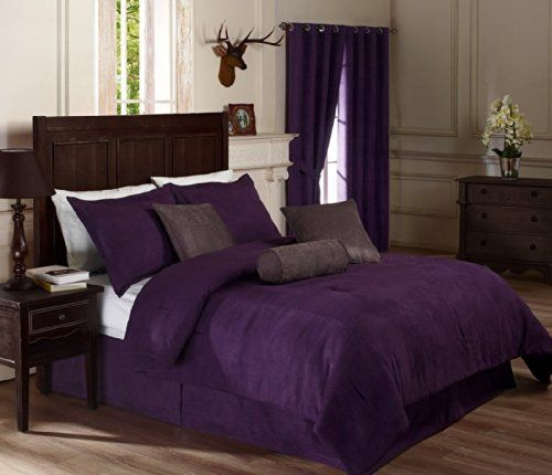"""Chezmoi Collection 7 Pieces Solid Lavender Purple Micro Suede Comforter 90""""x92"""" bed-in-a-bag Set Queen Size Bed Chezmoi Collection http://www.amazon.com/dp/B001KQ7W1I/ref=cm_sw_r_pi_dp_1IhLtb0RHJT512S9"""