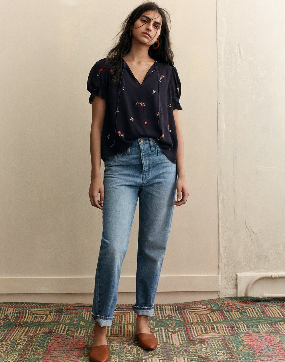 ad5a1df8df madewell dadjean worn with embroidered zephyr top + the remi mule ...