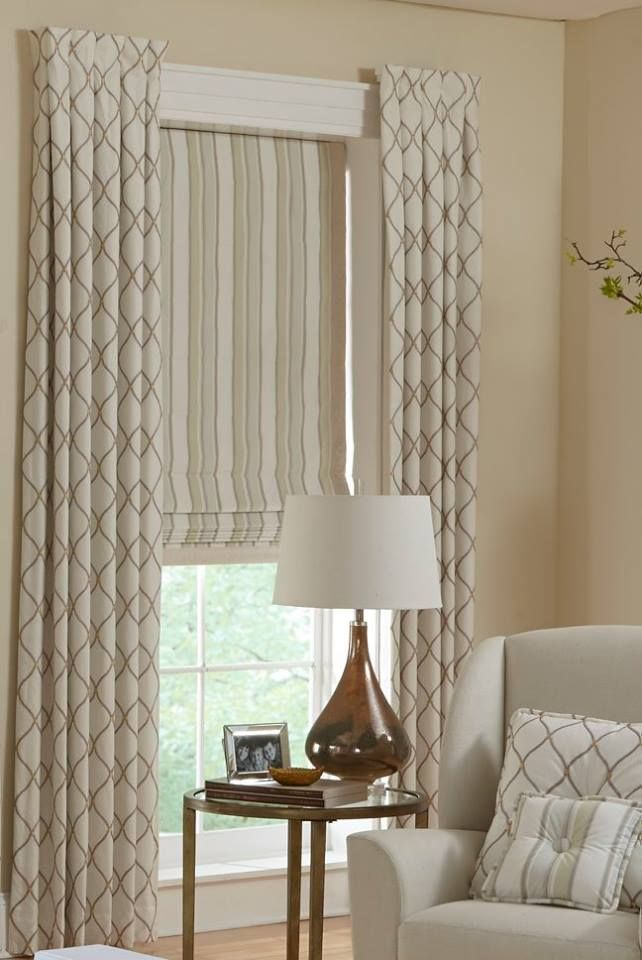 Stationary Box Pleated Side Panels With Roman Shades And