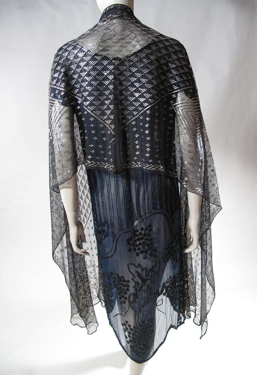 1920's Art Deco Black Assuit Shawl With Gilded Silver Spangles