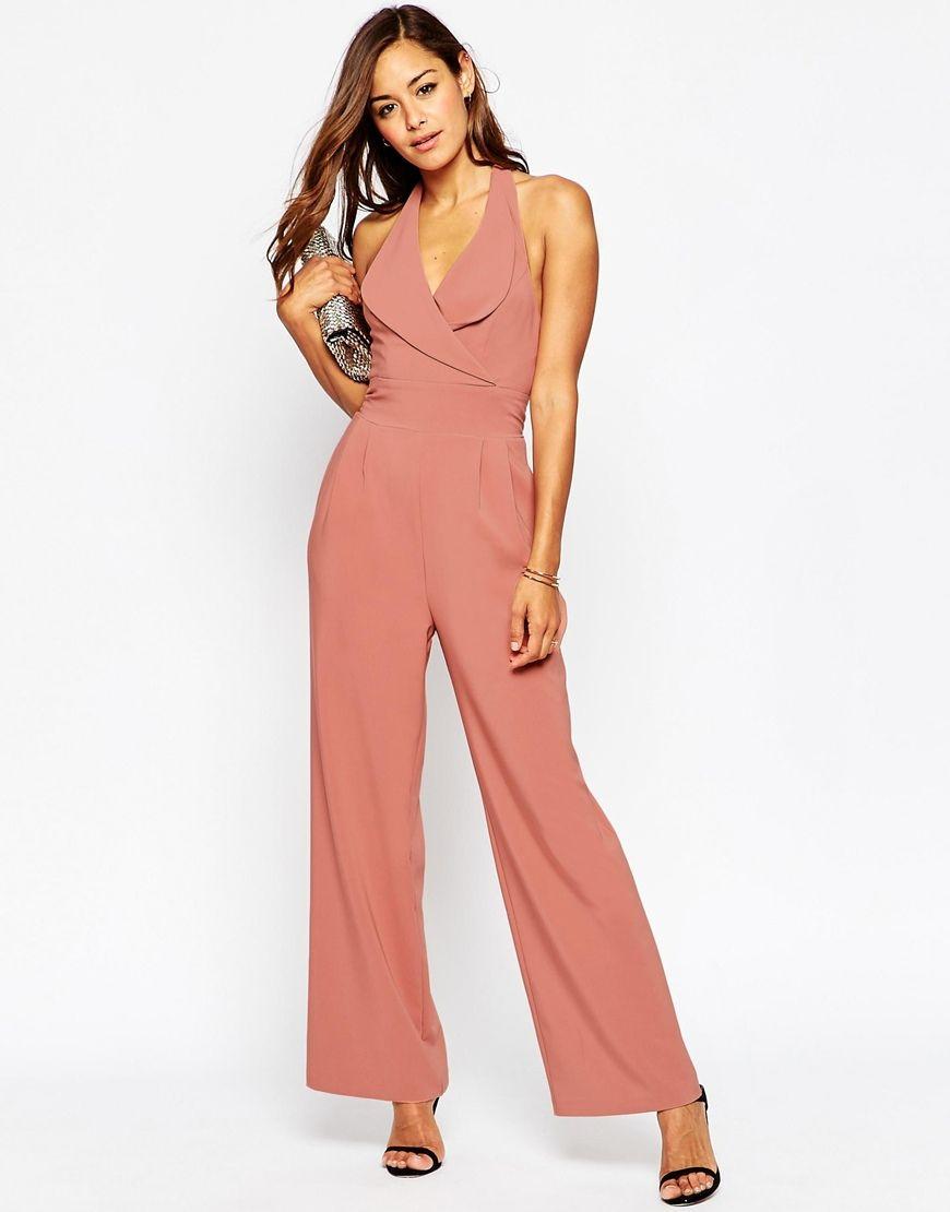 Pink-Tan Halterneck Bridesmaid Jumpsuit. Long & Short ...