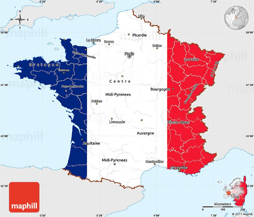 Flag Simple Map Of France Single Color Outside