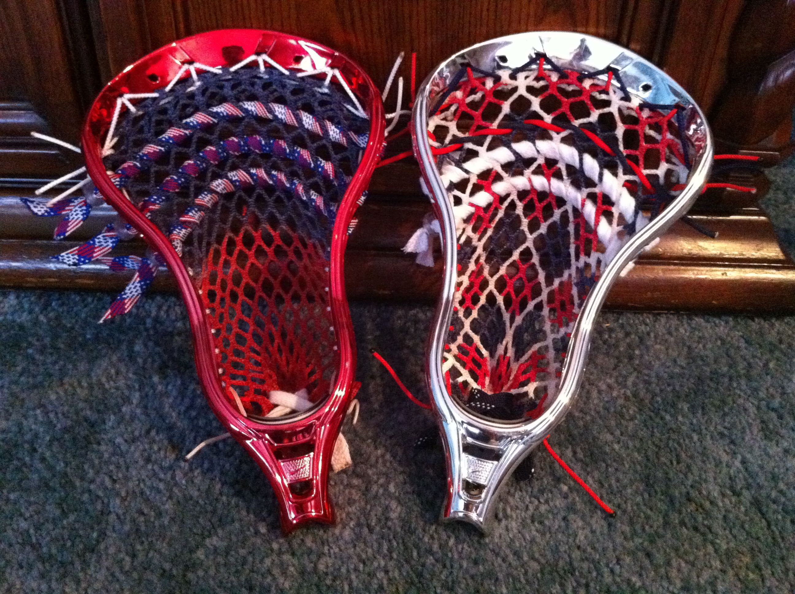 Red Lacrosse Heads Stringing Patterns Google Search Lacrosse Sport Shoes Shoes