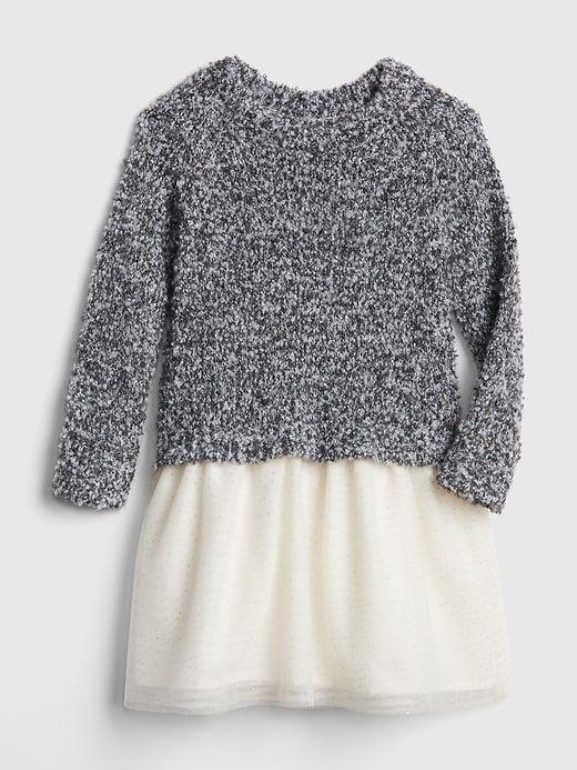 32802629373e7 Marled Sweater Mix-Fabric Dress | Products | Marled sweater, Grey ...