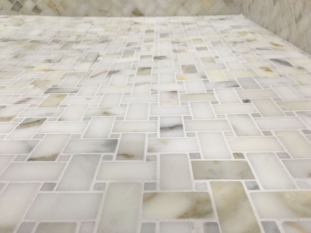 Calacutta Gold Marble Basketweave Mosaic Tile Kitchen Bathroom Backsplash Shower Gold Marble