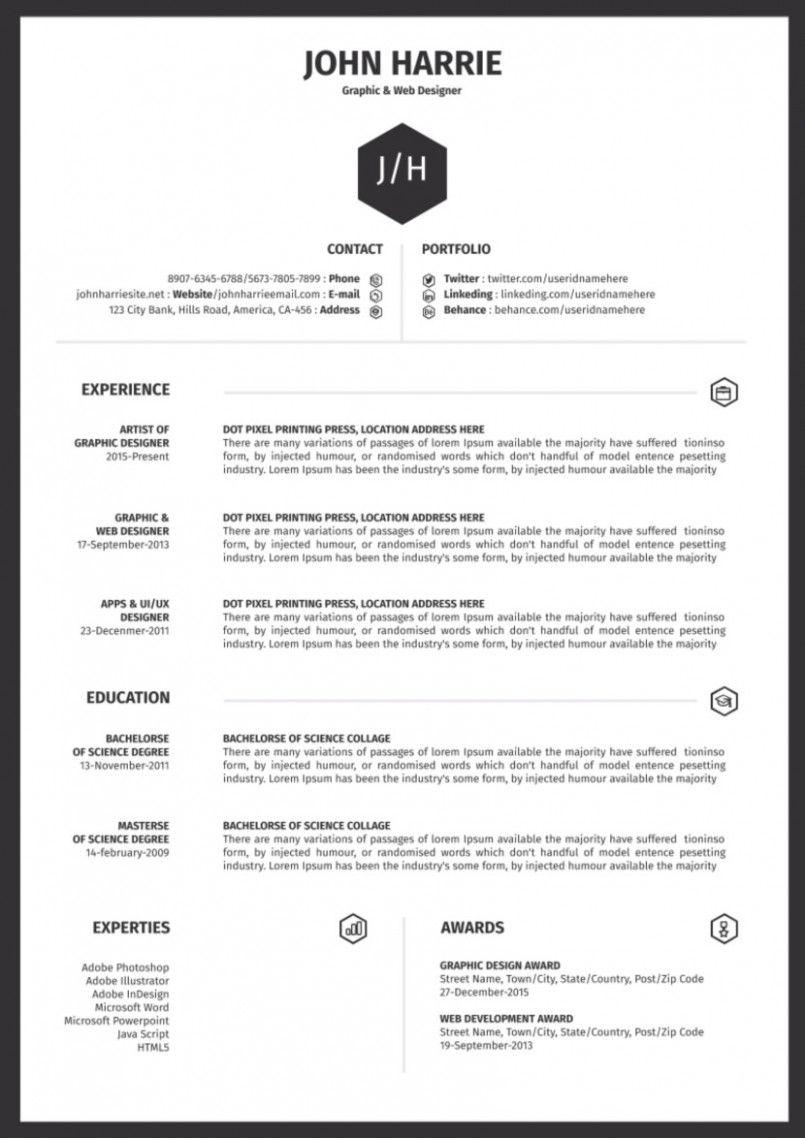 13 One Web Page Easy Resume Format Desain Cv Cv Kreatif Inspirasi