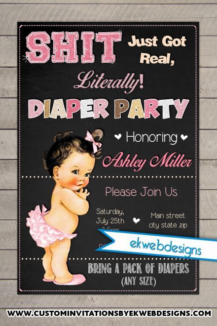 Diaper Party Baby Shower Invitations Sh T Just Got Real Invite Invitation In 2019 Parties