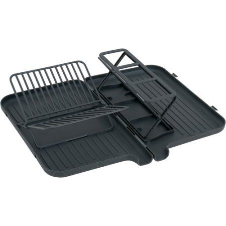 Dish Drying Rack Walmart Classy Farberware Folding Dish Rack With Spout Gray  Dish Racks Dishes