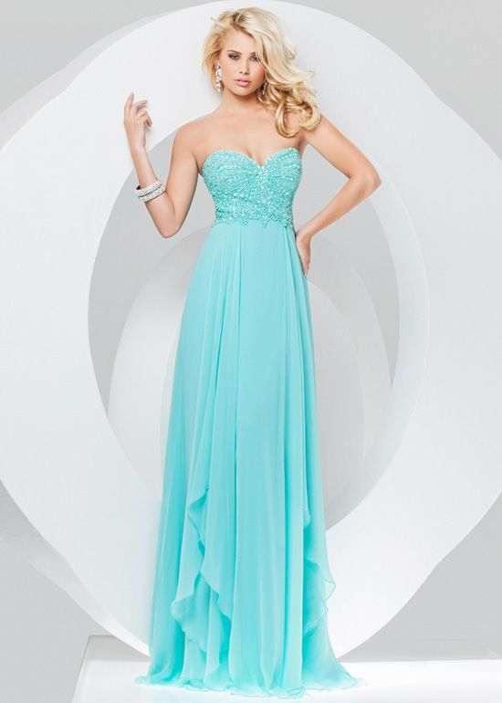 Aqua Long Fitted Strapless Beaded Full Figured Evening Gown | Prom ...