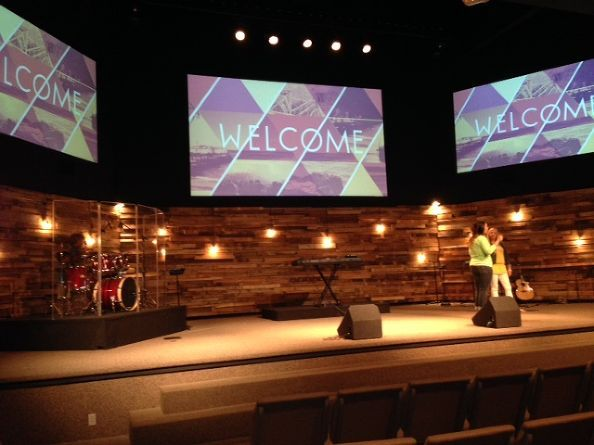 Repurposed Wood Pallets for Church Worship Stage  Reclaimed Wood Walls  Church stage design