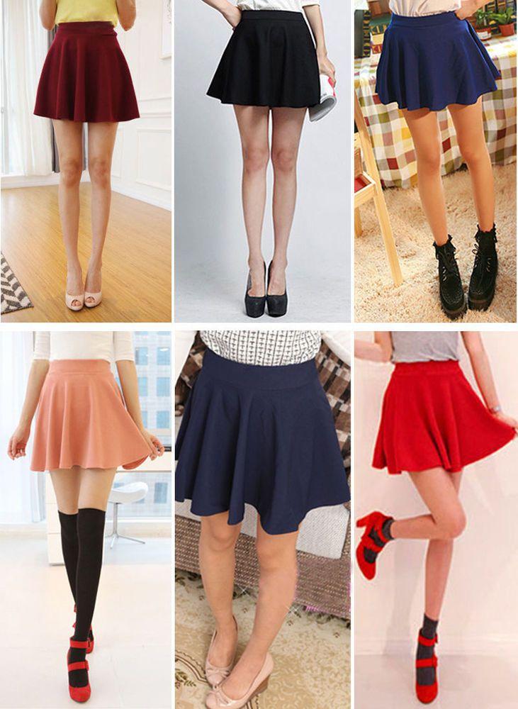 3c12080bf6d NEW women Short Stretch high Waist Plain Skater Flared Pleated Mini Skirt  R2