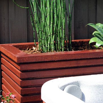 Asian Planter Boxes Modern Wood Planter Front Yard Makeover