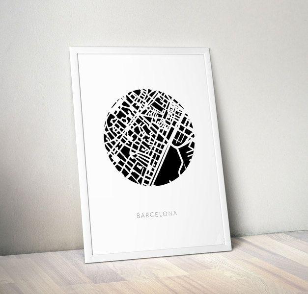 MAPA MIASTA - BARCELONA - plakat A3 - wydruk w Kate Syska ...