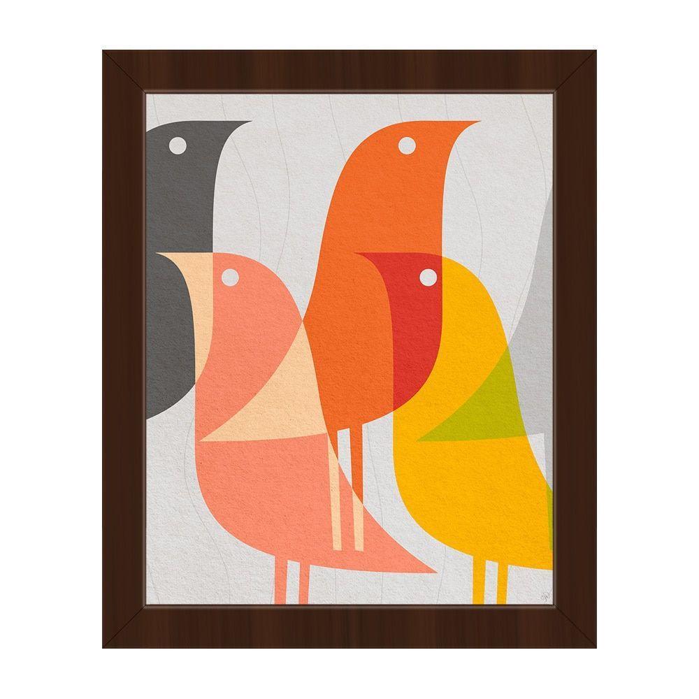 Retro Bird Caravan Framed Canvas Wall Art Print (Retro Bird Caravan 20