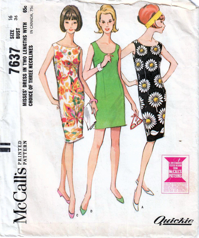 1960s Mccall S 7637 Vintage Sewing Pattern Misses Slim Etsy Shift Dress Pattern Fashion Sewing Pattern Vintage Dresses 1960s [ 3000 x 2512 Pixel ]