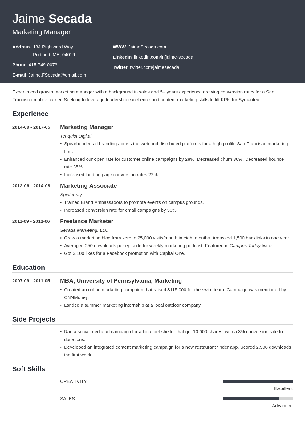 marketing resume template influx in 2020 Marketing