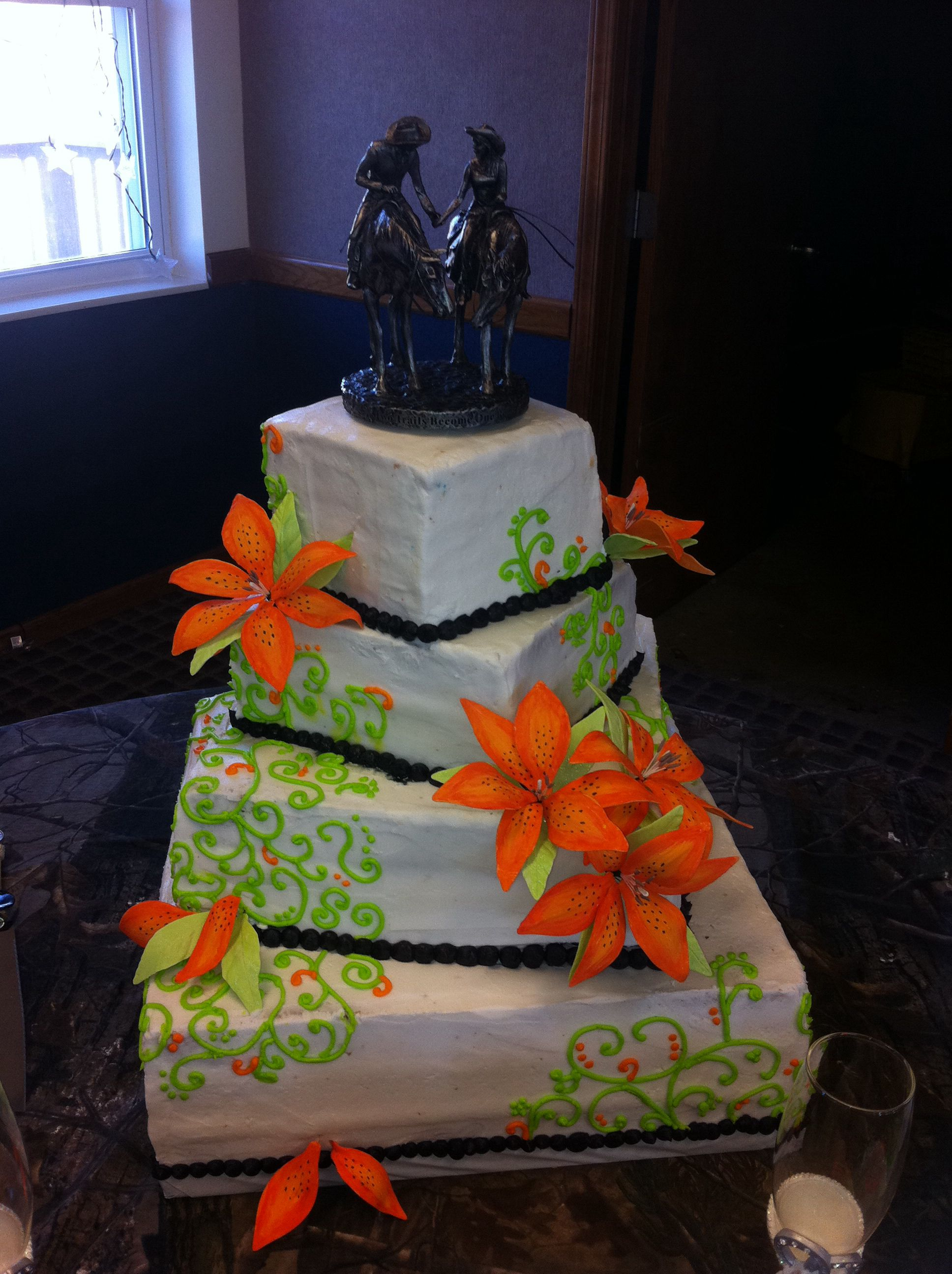 Orange And Lime Green Scroll Work Wedding Cake Tiger Lily Gum Paste