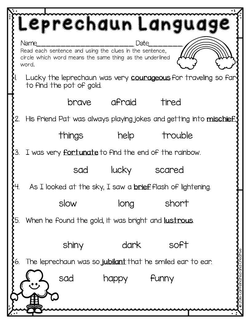 Spring Into Spring Context Clues Worksheets Context Clues First Grade Reading Comprehension