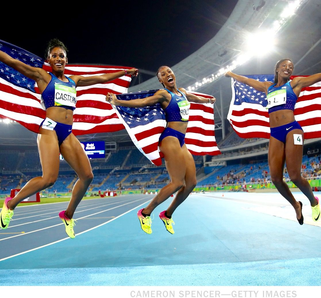 """""""They Came To Win"""" (L-R) Bronze medalist Kristi Castlin, gold medalist  Brianna Rollins and silver medalist Nia Ali celebrate after winning the  Women's ..."""