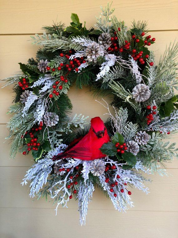 Christmas Wreath For Front Door Cardinal Wreath Frosty Red Wreath Wreath With Bird Red And Fros Coronas Navidenas Guirnaldas De Navidad Angelitos Navidad