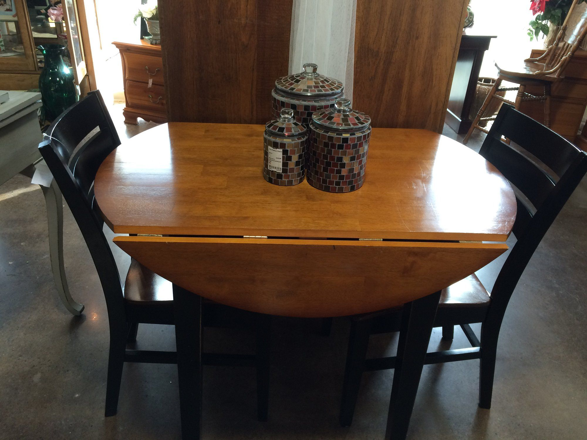 Dining Room Table With Drop Down Sides Alluring This Twotone Brown & Black Dropside Table & 2 Chairs Is Design Inspiration