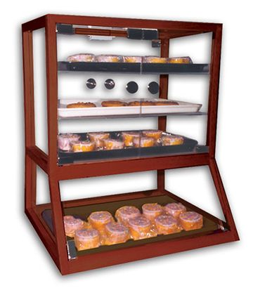 Countertop Mahogany Pastry Case With Angled Base 20 25 L X 16 W X