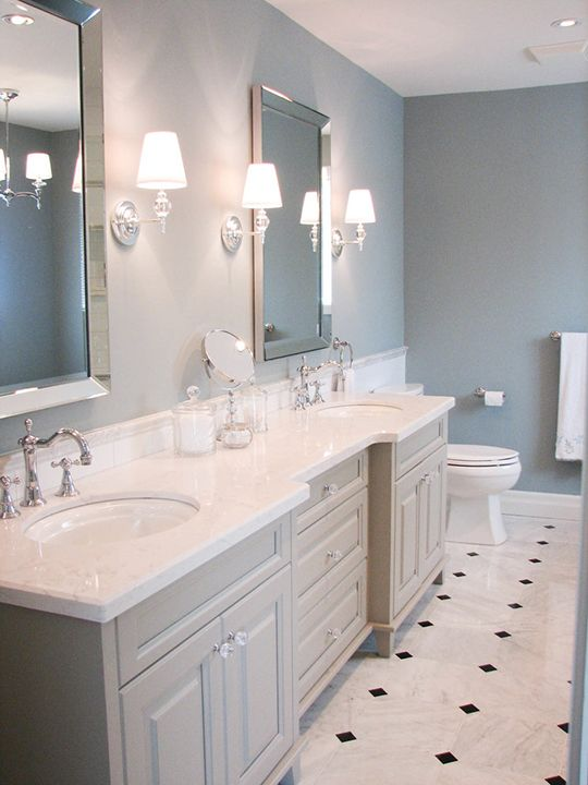Gorgeous White And Grey Bathroom, Sea Blue Walls And Marble With Black  Diamonds Flooring