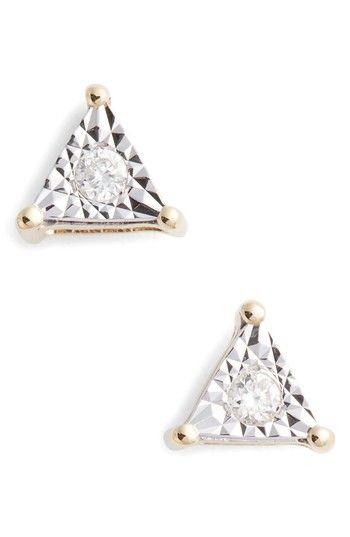 Free Shipping And Returns On Dana Rebecca Designs Emily Sarah Diamond Triangle Stud Earrings At Nordstrom The Le Is Turned Up By Refl