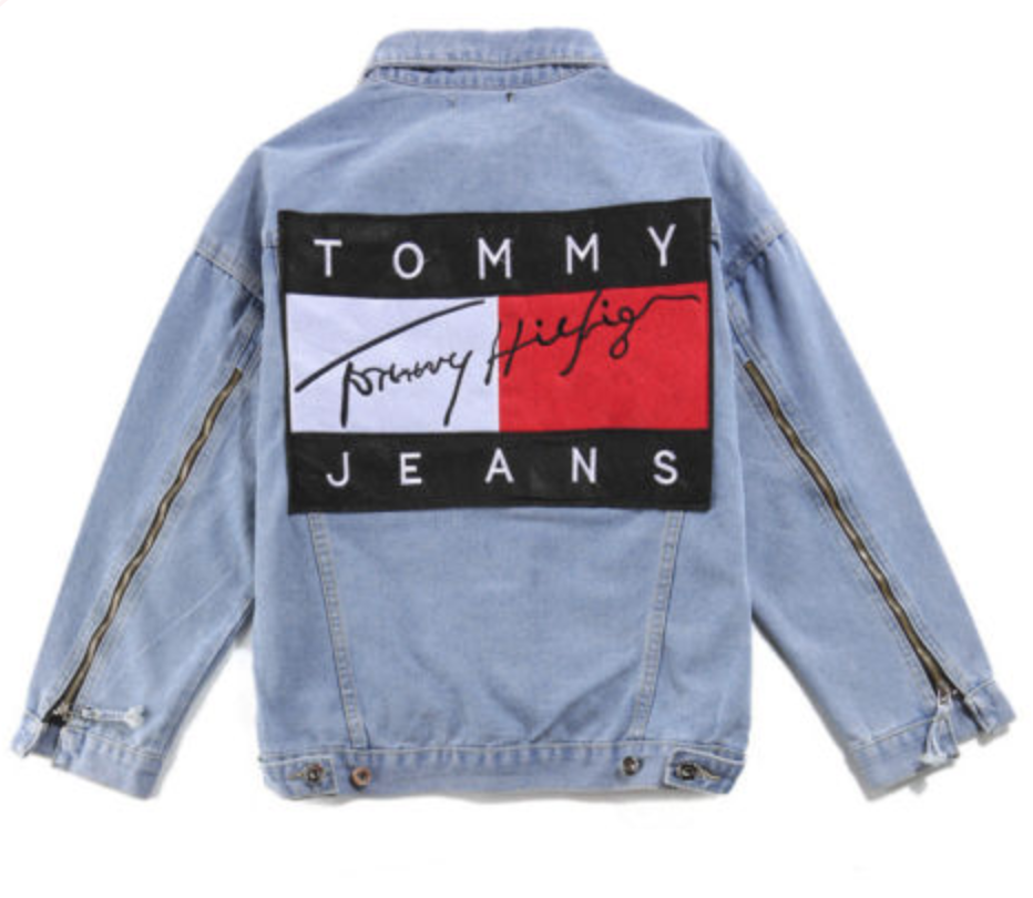 e17f7a2e341 FOR SALE  Men Womens Vintage Patch Sleeve Zipper Design Longline Jeans Denim  Tommy Hilfiger Denim Jacket Jacket Coat