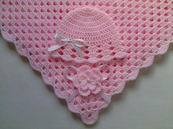 SALE HALF PRICE  Crochet Baby Blanket Hat por MyLittleRainbowShop