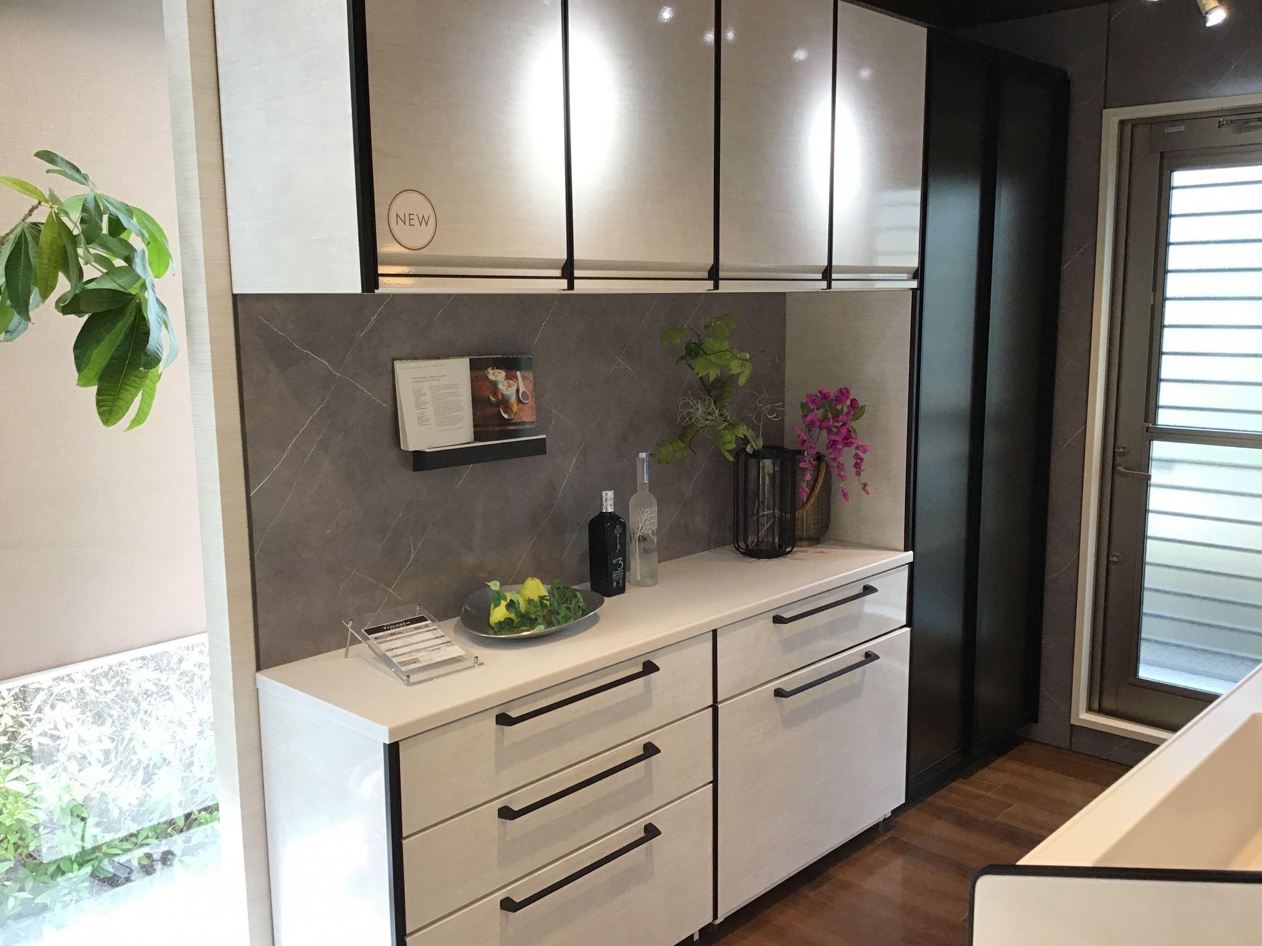 キッチン トレーシア I型 ペニンシュラ型 対面式 レイアウトの設置イメージ 神戸ショールーム タカラスタンダード 2020 タカラスタンダード システムキッチン インテリア 収納