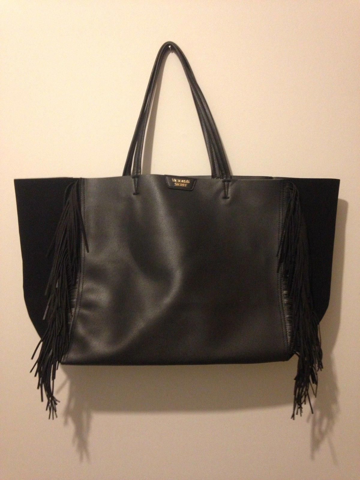 35 00 Victoria S Secret Black Tote Bag With Fringe Victorias